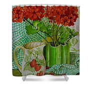 Red Geranium With The Strawberry Jug And Cherries Shower Curtain
