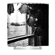 Return From Waiting  Shower Curtain by Empty Wall