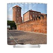 Sandomierska Tower And Wawel Castle Wall In Krakow Shower Curtain