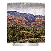 Sedona Arizona In Winter Coat Shower Curtain