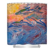 Soaring Dolphins Shower Curtain