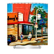 Steinbergs Grocery Store Paintings Vintage Montreal Art Order Prints Originals Commissions Cspandau Shower Curtain