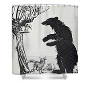 The Bear And The Fox Shower Curtain