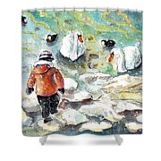 The Child And The Birds On Lake Constance Shower Curtain