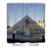 The Glass Pyramid Of The Musee Du Louvre In Paris France Shower Curtain