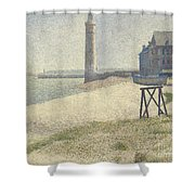 The Lighthouse At Honfleur Shower Curtain by Georges Pierre Seurat