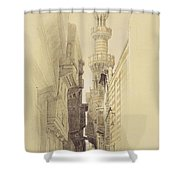 The Minaret Of The Mosque Of El Rhamree Shower Curtain by David Roberts