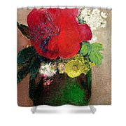 The Red Poppy Shower Curtain by Odilon Redon