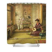 The Stray Shuttlecock Shower Curtain by Frank Dillon
