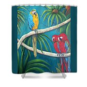 Three Is A Crowd,macaws Shower Curtain