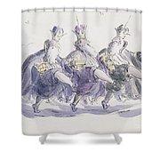 Three Kings Dancing A Jig Shower Curtain