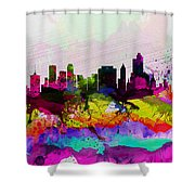 Tulsa Watercolor Skyline Shower Curtain