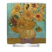Vase With Twelve Sunflowers Shower Curtain