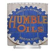 Vintage Humble Oils Sign Jefferson Texas Shower Curtain