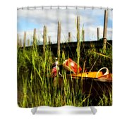 Waiting Girl On Les Cheneaux  Shower Curtain