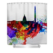 Washington Dc Watercolor Skyline 1 Shower Curtain by Naxart Studio