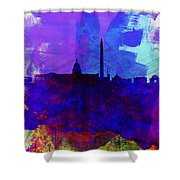 Washington Dc Watercolor Skyline 2 Shower Curtain