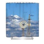 Water Windmills Shower Curtain by Stelios Kleanthous