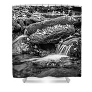 Waterfall Great Smoky Mountains Painted Bw    Shower Curtain