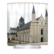 West Facade Of The Church - Fontevraud Abbey Shower Curtain