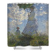 Woman With A Parasol Madame Monet And Her Son Shower Curtain by Claude Monet