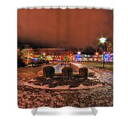 0010 Christmas Light Show At Roswell Series Shower Curtain