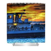 0017 Awe In One Sunset Series At Erie Basin Marina Shower Curtain