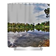 002 Reflecting At Forest Lawn Shower Curtain