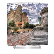 003 Sleeping Lions City Hall View  Shower Curtain