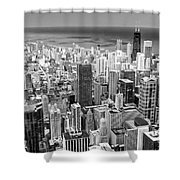 0036 Chicago Skyline Black And White Shower Curtain