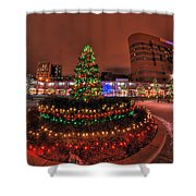 004 Christmas Light Show At Roswell Series Shower Curtain