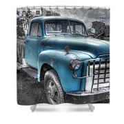 0043 Old Blue Shower Curtain