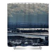 0046 Winter Turbines  Shower Curtain