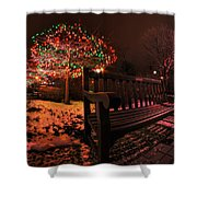 005 Christmas Light Show At Roswell Series Shower Curtain