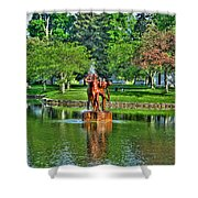 005 Reflecting At Forest Lawn Shower Curtain