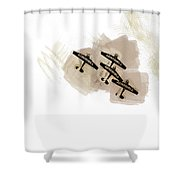 0166 - Air Show - Brown Water Shower Curtain