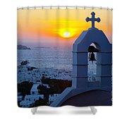 0209 Mykonos Sunset Shower Curtain