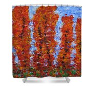 026 Red Trees Shower Curtain