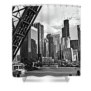 0365 North Branch Chicago River Black And White Shower Curtain