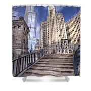 0499 Trump Tower And Wrigley Building Chicago Shower Curtain