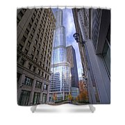 0527 Trump Tower From Wrigley Building Courtyard Chicago Shower Curtain