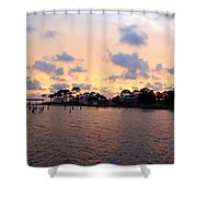 0530 Sunset Tree Silhouette Reflections Shower Curtain