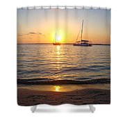 0531 Sailboats At Sunset On Sound Shower Curtain