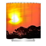0601 Sunrise Over Silhouette Trees Shower Curtain