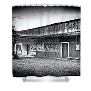 0706 Jerome Ghost Town Black And White Shower Curtain