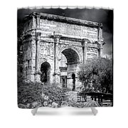 0791 The Arch Of Septimius Severus Black And White Shower Curtain