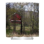 Red Country Barn Shower Curtain
