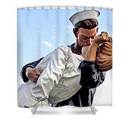 Closeup Nurse And Sailor Kissing Statue Unconditional Surrender Shower Curtain