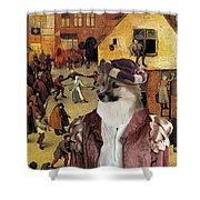 Icelandic Sheepdog Art Canvas Print  Shower Curtain