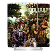 Irish Red And White Setter Art Canvas Print  Shower Curtain
